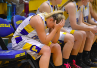 Ferndale senior Abby Reid reacts to her career as a Golden Eagle coming to an end on Friday night against Edmonds-Woodway. Ferndale finished with a school-record 18 wins. (Kevin Doucette/Ferndale Record)